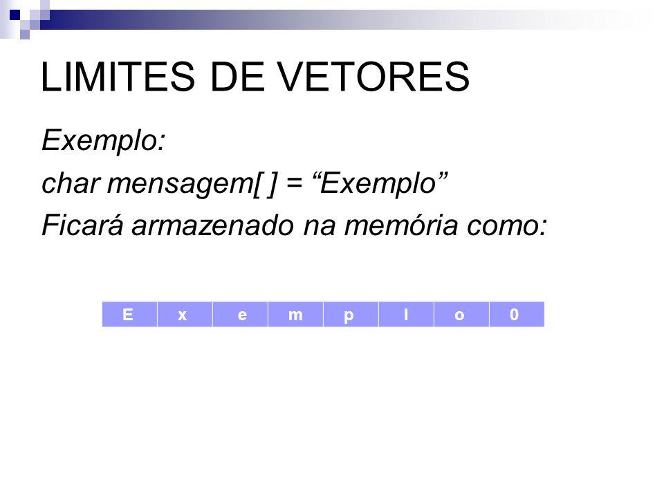 LIMITES DE VETORES Exemplo: char mensagem[ ] = Exemplo